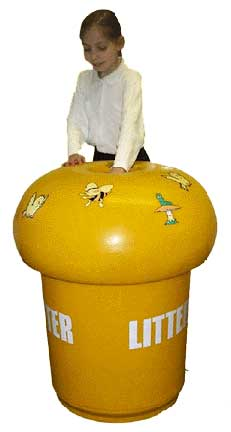 Theme Bins' Yellow Mushroom shaped Litter, trash, recycling shaped bin with animal decorations . jpg